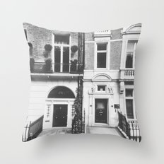 London Facade: B&W Throw Pillow