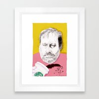 """Žižek just spilled Starbucks coffee all over himself""  Framed Art Print"
