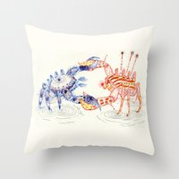 Crabby Fight Throw Pillow