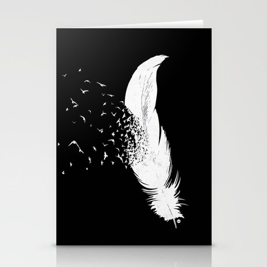 Birds of a Feather (Black) Stationery Card