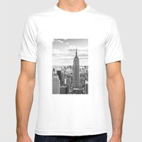 New York Skyline Mens Fitted Tee White SMALL