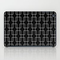 White outline rectangles on black iPad Case