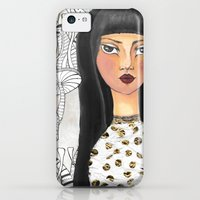iPhone 5c Cases featuring The girl with the red lips by Yaman