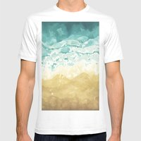 Minimalist Shore - Beach Painting Mens Fitted Tee White SMALL