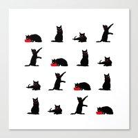 Cats Black On White Canvas Print