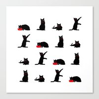 Cats Black on White Canvas Print