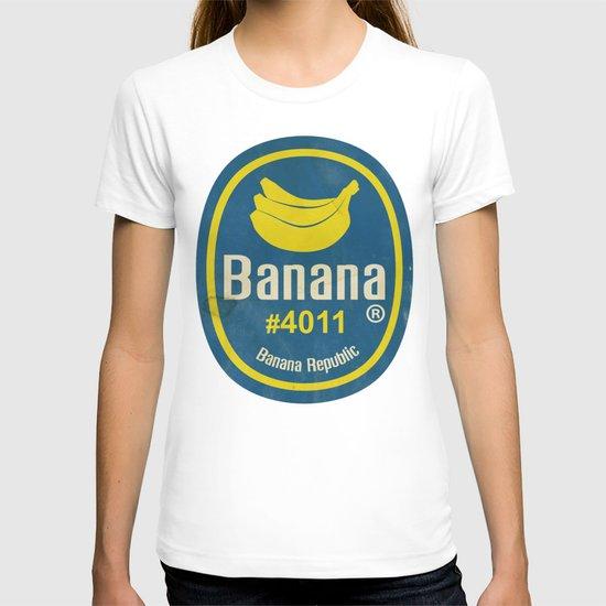 Banana Sticker On Blue T-shirt