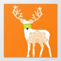 Orange Reindeer Art Canvas Print