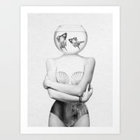 bee Art Prints featuring Pisces  by Jenny Liz Rome