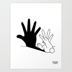 Rabbit Hand Shadow Art Print