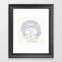rainy cat Framed Art Print