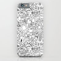 iPhone & iPod Case featuring Infinity Robots Black & White by Chris Piascik