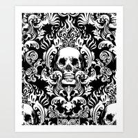Skull Damask Art Print