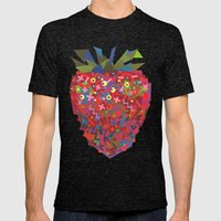 Strawberry (Fraise) Mens Fitted Tee Tri-Black SMALL