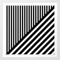 Black And White Diagonal… Art Print