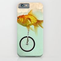 iPhone & iPod Case featuring unicycle gold fish -2 by vin zzep