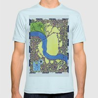 Tiny Underdog City Map Mens Fitted Tee Light Blue SMALL