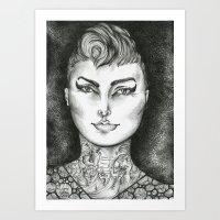 Ink Girl  Art Print