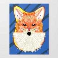 Fox in Blue Canvas Print