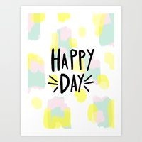 happy day abstract hand lettering Art Print