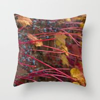 Berries and Leaves Throw Pillow