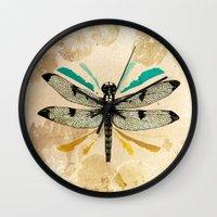Autumn dragonfly Wall Clock