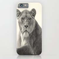 iPhone Cases featuring The Lioness by Becky Dix