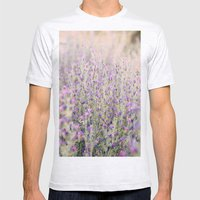 Purple Flowers Mens Fitted Tee Ash Grey SMALL