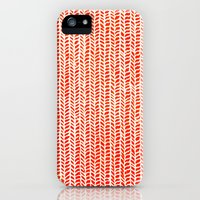 iPhone 5s & iPhone 5 Cases featuring Stockinette Orange by Elisa Sandoval
