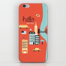 Hello New York - retro manhattan NYC icons illustration iPhone & iPod Skin