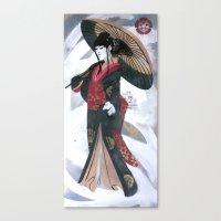 Japanese Woman Street Ar… Canvas Print