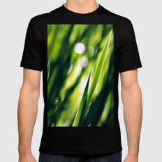 Green SMALL Mens Fitted Tee Black