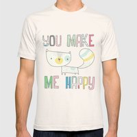 make me happy Mens Fitted Tee Natural SMALL