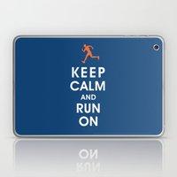 Keep Calm and Run On (male runner) Laptop & iPad Skin