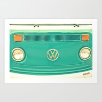 vw Art Prints featuring Groovy VW by RDelean