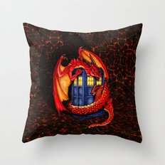 Red Dragon Wyvern Smaug with Blue Phone booth iPhone 4 4s 5 5c 6, pillow case, mugs and tshirt Throw Pillow