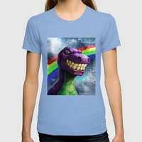Barney the dinosaur Womens Fitted Tee Tri-Blue SMALL