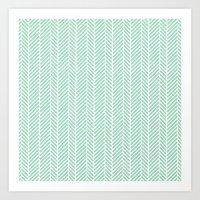 Herringbone Mint Inverse Art Print