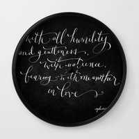 Bearing in Love // White on Black Wall Clock