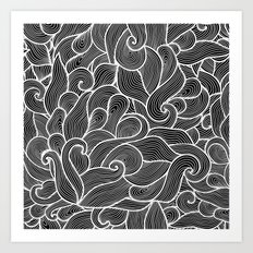 Black and white waves  Art Print