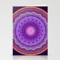 Colourful mandala with waves and tribal patterns Stationery Cards