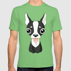 French Bulldog Mens Fitted Tee Grass SMALL