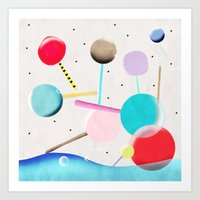 Lolli pop floating water waves and bubbles Art Print