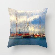 Waiting to sail Throw Pillow