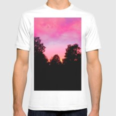 Sunset above the trees White Mens Fitted Tee SMALL