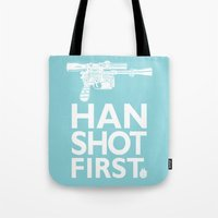 """Tote Bag featuring Star Wars """"Who Shot First?""""  by Tom Ryan's Studio"""