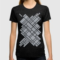 Map Outline Grey 45  Womens Fitted Tee Tri-Black SMALL