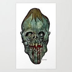 Heads of the Living Dead Zombies: Moon Faced Zombie Art Print
