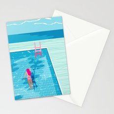 In Deep - memphis throwback swimming athlete palm springs resort vacation country club infinity pool Stationery Cards