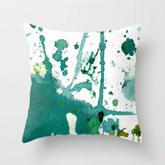 emerald green splash Throw Pillow
